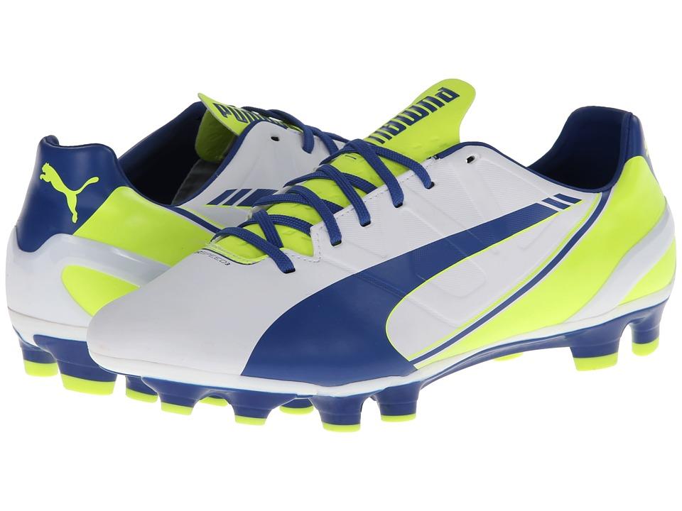 PUMA - evoSPEED 3.3 FG Wn's (White/Snorkel Blue/Fluro Yellow) Women's Soccer Shoes