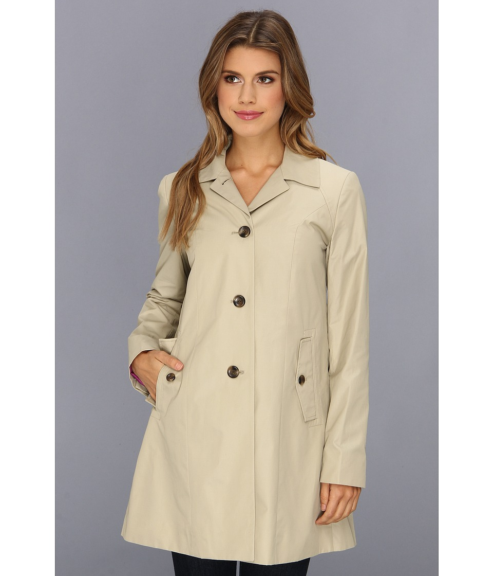 Cole Haan - Single Breasted Raincoat With Button Closure Center Back Pleat (Stone) Women's Coat