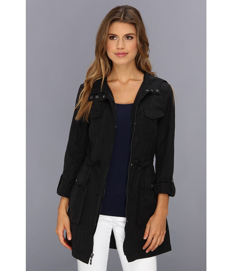 Cole Haan Packable 4 Pocket Zip Up Jacket With Hood (Black) Women