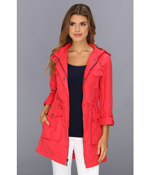 Cole Haan - Packable 4 Pocket Zip Up Jacket With Hood (Poppy) Women's Jacket