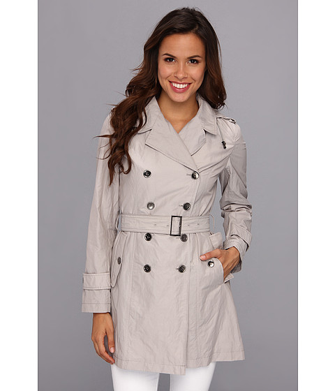 Cole Haan - Packable Double-Breasted Jacket w/ Removable Hood (Feather) Women's Coat