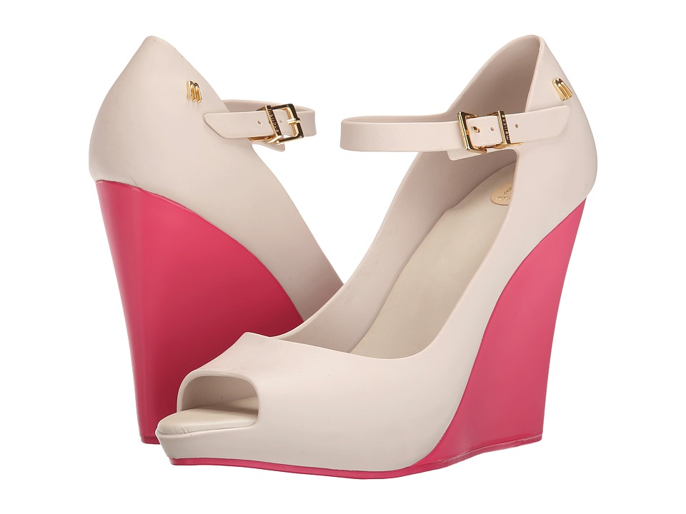 Melissa Shoes - Melissa Prism II (Beige/Pink) Women's Wedge Shoes
