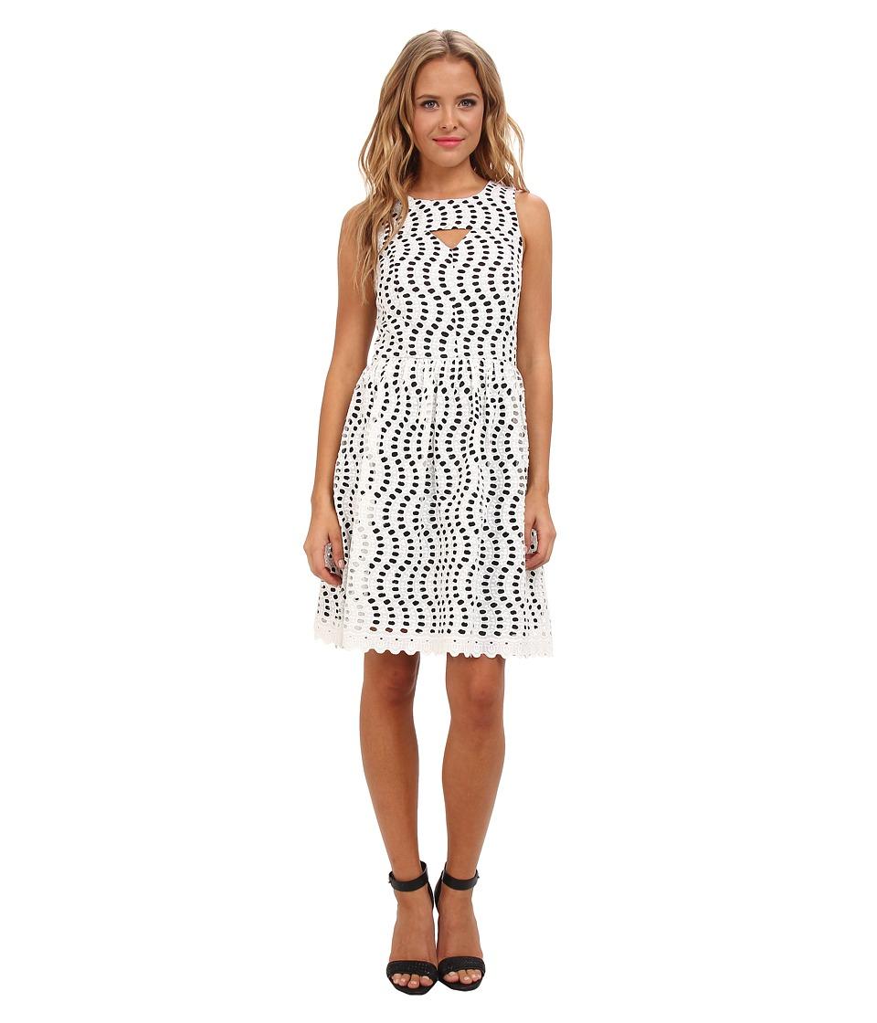 kensie - Novelty Eyelet Dress KS7K7030 (Eggshell Combo) Women's Dress