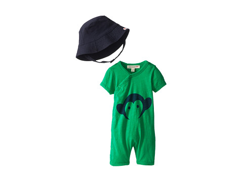 Appaman Kids - Super Soft Appaman Monkey Hockey Romper and Hat Set (Infant) (Clover) Kid's Jumpsuit & Rompers One Piece