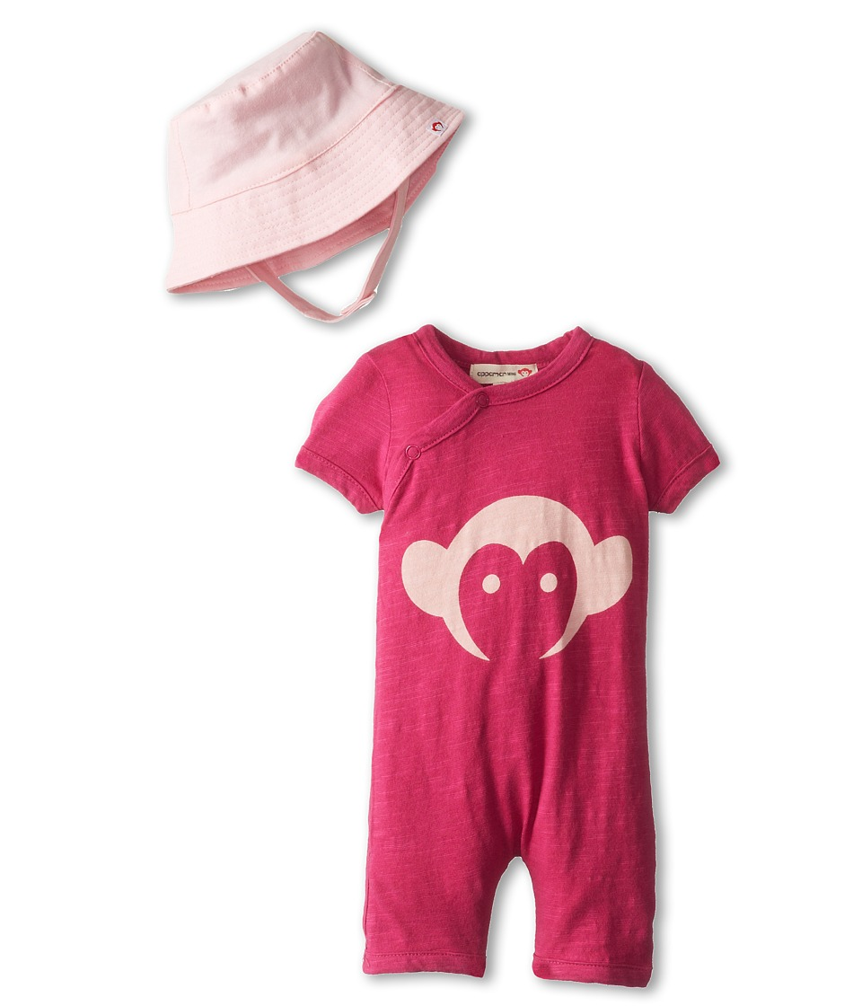 Appaman Kids - Super Soft Appaman Monkey Hockey Romper and Hat Set (Infant) (Goji Berry) Kid's Jumpsuit & Rompers One Piece
