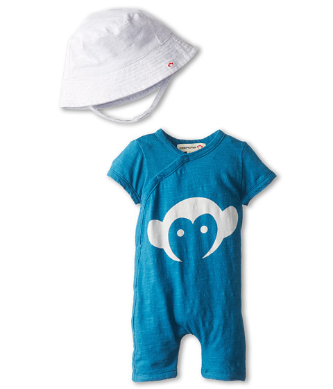 Appaman Kids - Super Soft Appaman Monkey Hockey Romper and Hat Set (Infant) (Pacific Blue) Kid