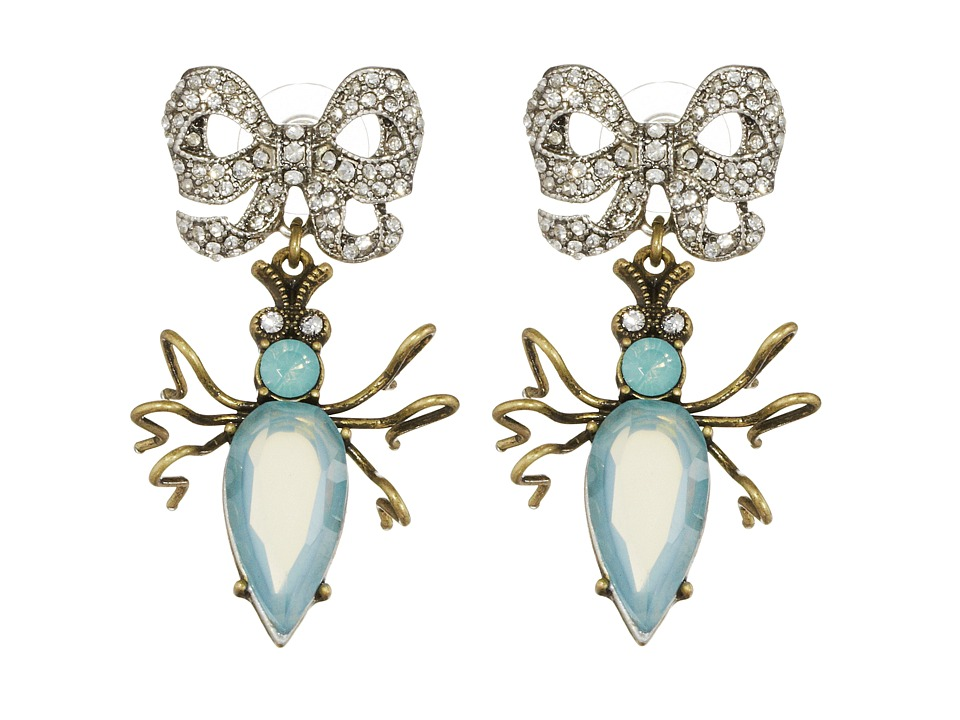 Betsey Johnson - Vintage Critters Blue Beetle Bow Drop Earrings (Green Multi) Earring