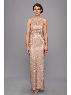 SALE! $186.99 - Save $188 on Laundry by Shelli Segal Embroidered Metallic Mesh Gown (Champagne) Apparel - 50.14% OFF $375.00
