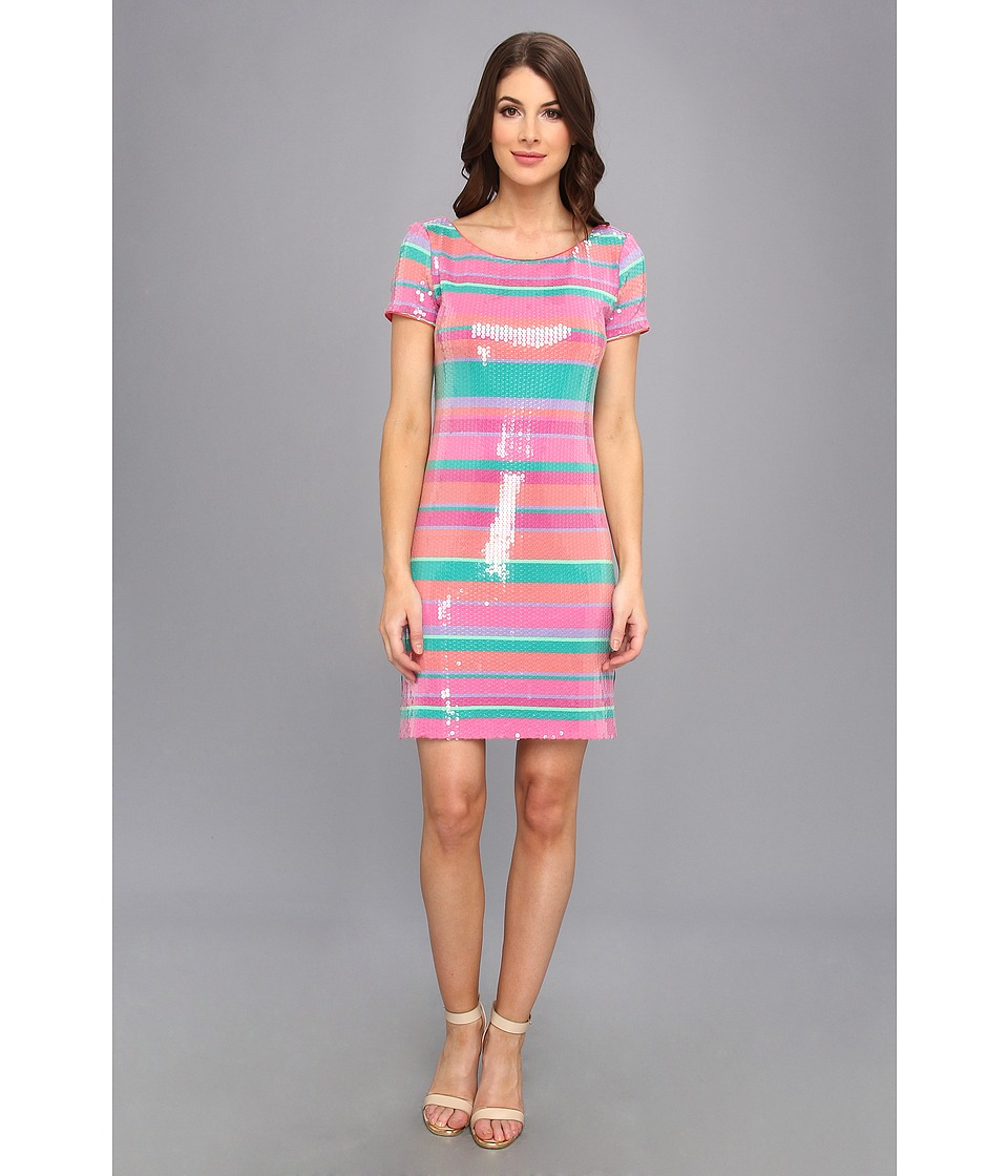 Laundry by Shelli Segal Sugar Stripe Sequin Dress (Calypso Coral Multi) Women