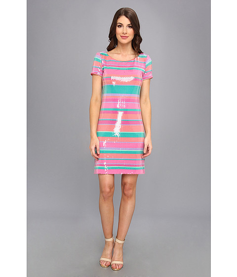 Laundry by Shelli Segal - Sugar Stripe Sequin Dress (Calypso Coral Multi) Women's Dress