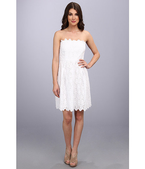Laundry by Shelli Segal - Strapless Eyelet Dress (Graduation) (Optic White) Women's Dress