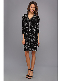 SALE! $57.99 - Save $40 on Nine West 3 4 Sleeve Wrap W Collar Dress (Black White) Apparel - 40.83% OFF $98.00