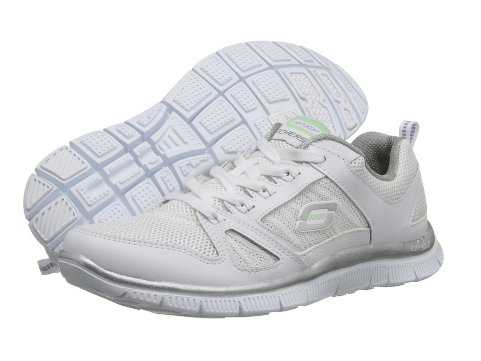 SKECHERS - Spring Fever (White Suede/Lime) Women's Lace up casual Shoes