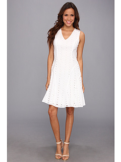 SALE! $47.99 - Save $50 on Nine West Sleeveless V Neck Eyelet Fit and Flare w Seam Details (White) Apparel - 51.03% OFF $98.00
