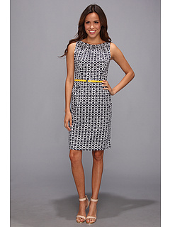 SALE! $57.99 - Save $40 on Nine West Cotton Pleat Neck Shift Dress w Belt (White Navy) Apparel - 40.83% OFF $98.00