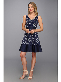 SALE! $57.99 - Save $40 on Nine West Cluster Dot Border V Neck Fit and Flare (White Navy) Apparel - 40.83% OFF $98.00