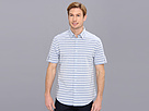 DKNY Jeans S/S Horizontal Stripe Slim Fit Shirt-City Press (Blue) Men's Short Sleeve Button Up
