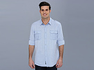 DKNY Jeans L/S Roll Tab Horizontal Stripe Shirt w/ Epaulet-Casual Press (Blue) Men's Long Sleeve Button Up