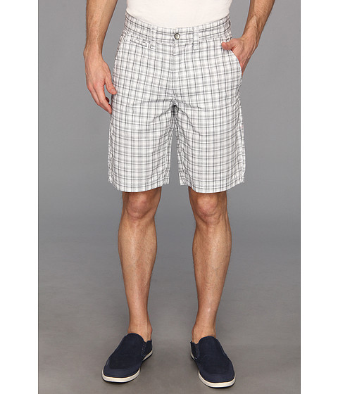 DKNY Jeans - Yarn Dyed Check Flat Front Short (White) Men