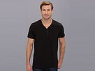DKNY Jeans S/S Variegated Stripe Y-Henley (Black)