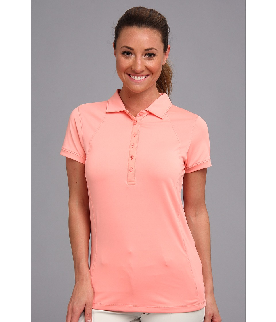 Heather Grey - Lolo Polo (Electric Peach) Women's Short Sleeve Knit