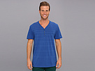 DKNY Jeans S/S Variegated Stripe Y-Henley (Sapphire)