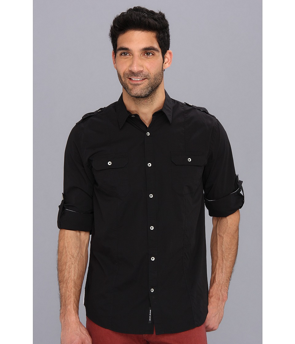 DKNY Jeans - L/S Solid Roll Tab Shirt-Casual Press (Black) Men's Long Sleeve Button Up