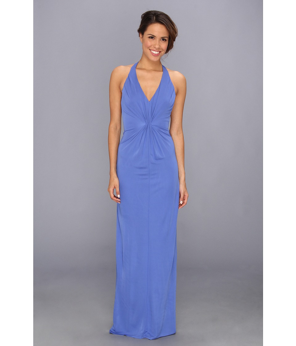 ABS Allen Schwartz Deep V-Neck Gown w/ Vertical Gathering (Ocean Blue) Women