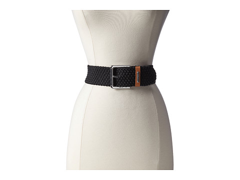 LAUREN by Ralph Lauren - 2 Nylon Cord Belt w/ Leather Keeper (Black) Women