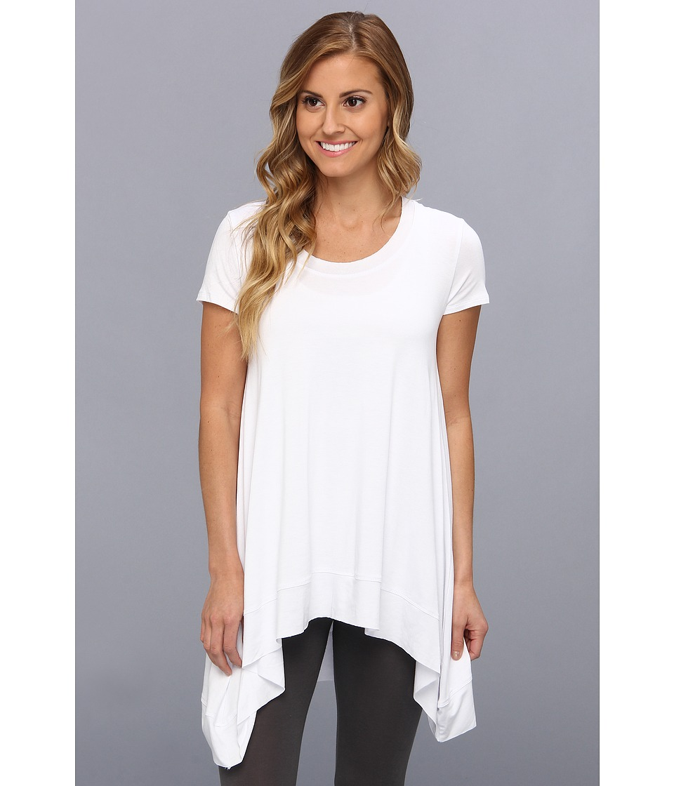 Lysse - Short Sleeve Drape Top w/ Inner Control Tank (White) Women's T Shirt