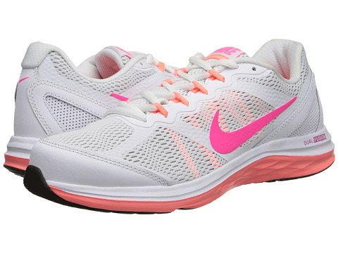 Nike - Dual Fusion Run 3 (White/Wolf Grey/Bright Mango/Hyper Pink) Women
