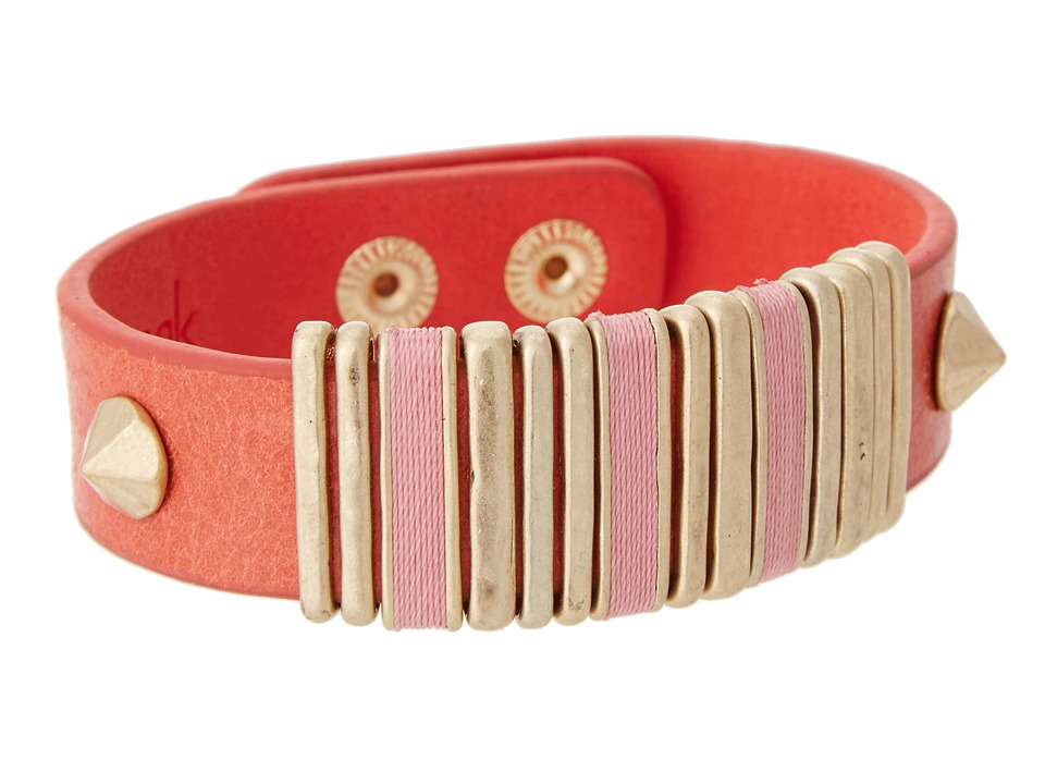 The Sak - Signature String Leather Third Slider Bracelet (Cayenne/Gold) Bracelet