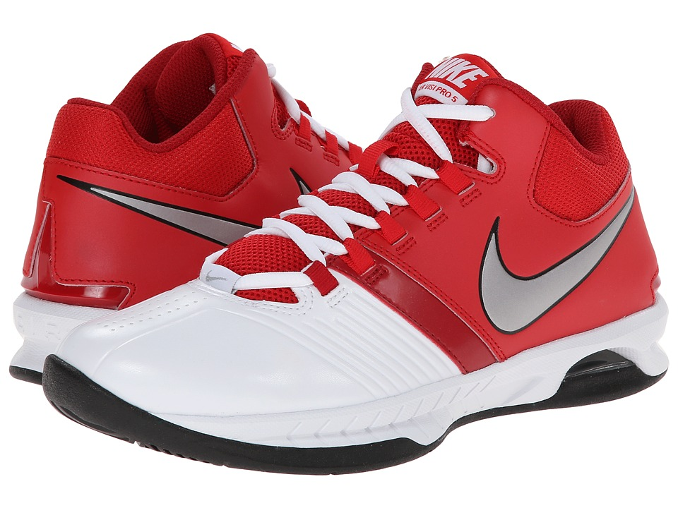 Nike - Air Visi Pro V (White/University Red/Gym Red/Metallic Silver) Women's Running Shoes