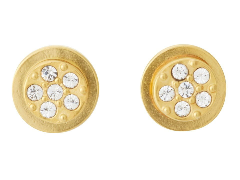 Sam Edelman - Sand Dunes Round Flat Pave Stud Earrings (Gold) Earring