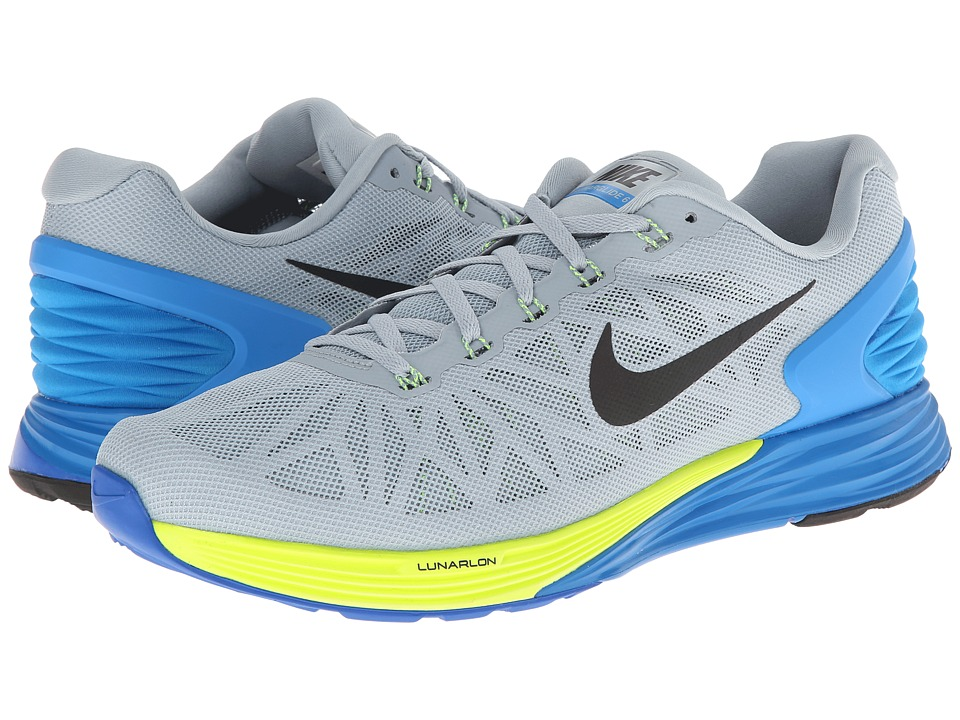Nike - LunarGlide 6 (Light Magnet Grey/Photo Blue/Volt/Black) Men's Running Shoes