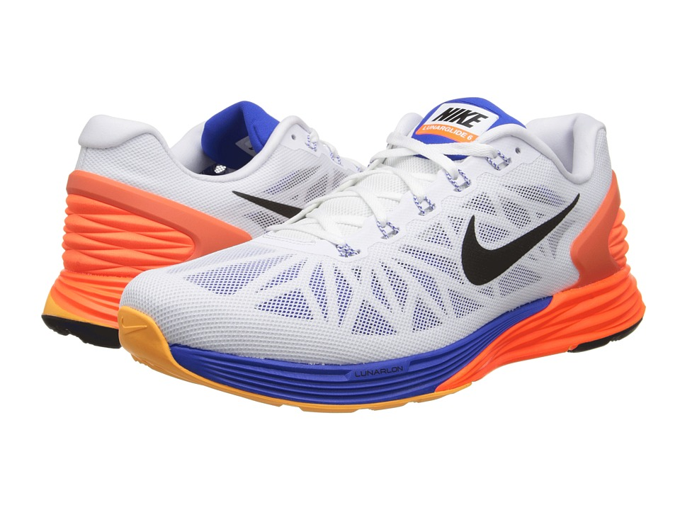 Nike - LunarGlide 6 (White/Hyper Crimson/Hyper Cobalt/Black) Men's Running Shoes