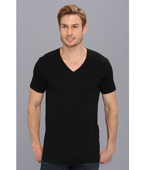 Calvin Klein Underwear - Dual Tone S/S V-Neck U3075 (Black/Shadow Grey) Men's T Shirt