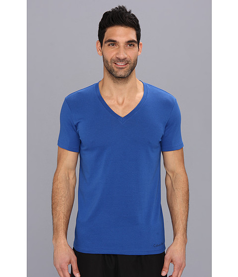 Calvin Klein Underwear - Dual Tone S/S V-Neck U3075 (Dark Midnight/Black) Men's T Shirt