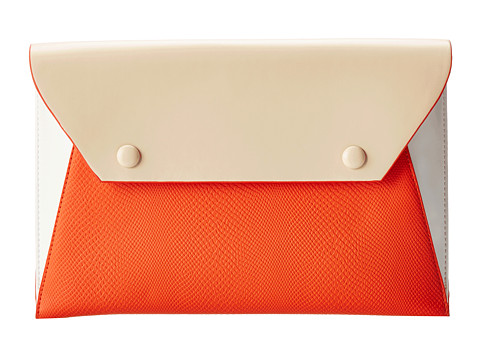 BCBGMAXAZRIA Sophie Exotic Embossed Envelope Clutch (Vermillion Combo) Clutch Handbags