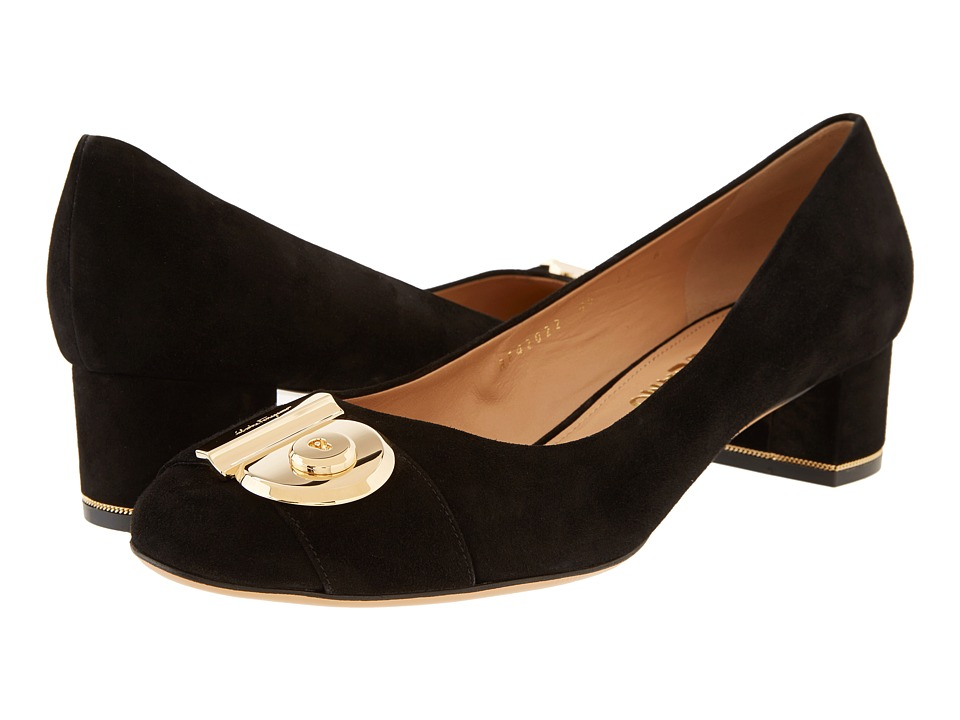 Salvatore Ferragamo - Fiamma 40 (Nero Suede Kid RO) High Heels