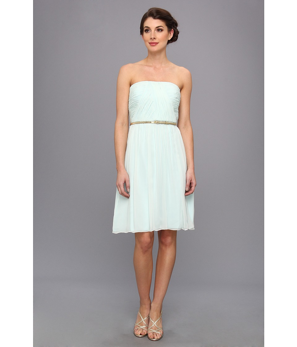 Donna Morgan - Donna Strapless Belted Chiffon Dress (Beachglass) Women's Dress