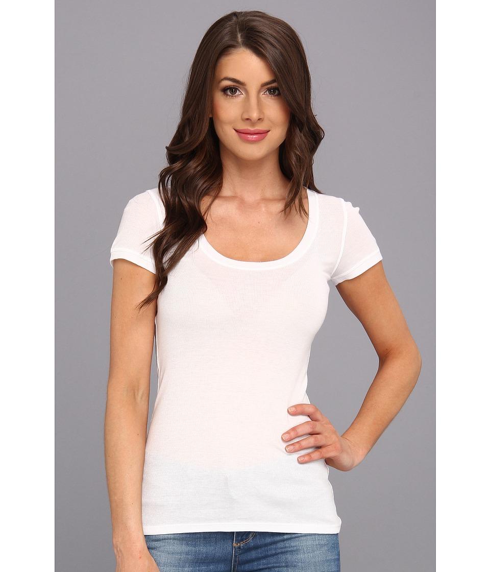 BCBGMAXAZRIA - Ashlyn Knit Sportswear Top (White) Women's Short Sleeve Pullover
