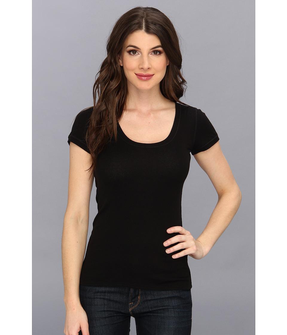 BCBGMAXAZRIA - Ashlyn Knit Sportswear Top (Black) Women's Short Sleeve Pullover