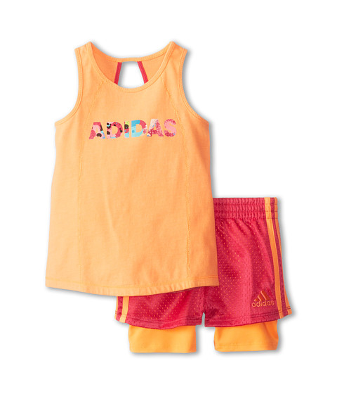 adidas Kids - Tulip Tank Set (Infant) (Orange Glow) Girl's Active Sets
