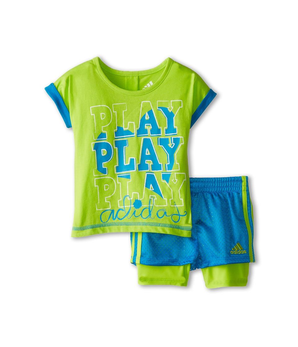 adidas Kids - Triple Play Short Set (Infant) (Slime Green) Girl's Active Sets