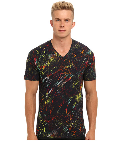 McQ - PG Scratched Dropped Shoulder Tee (Darkest Black) Men's T Shirt