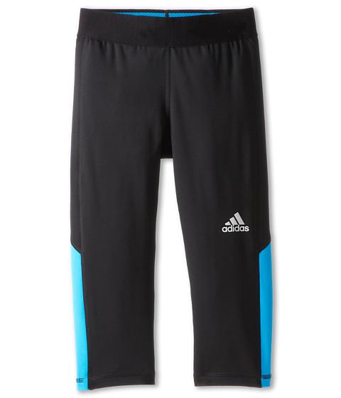 adidas Kids - TECHFIT 3/4 Tight (Big Kids) (Black/Solar Blue) Girl's Capri