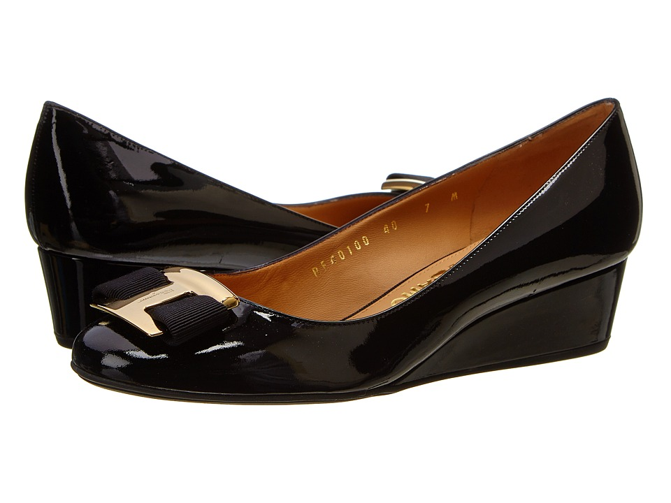 Salvatore Ferragamo - Ninna 40 (Nero Glass Flower) Women's Wedge Shoes