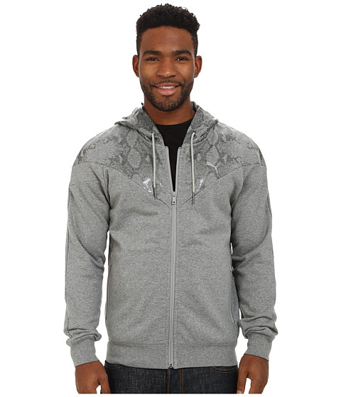 PUMA - Snake Print Hoody (Medium Gray Heather) Men