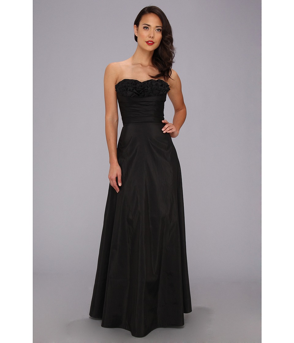 Unique Vintage Strapless Taffeta Gown Womens Dress (Black)